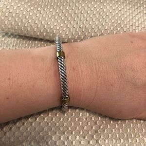 Jewelry - Silver rope bracelet with gold accents